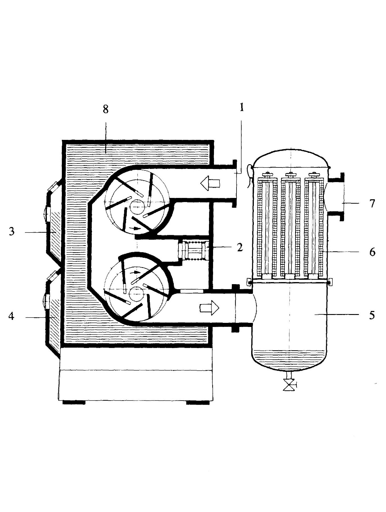 Vacuum pumps and pumping systems - Cross section of a water-cooled two-stage oil-sealed multivane pump